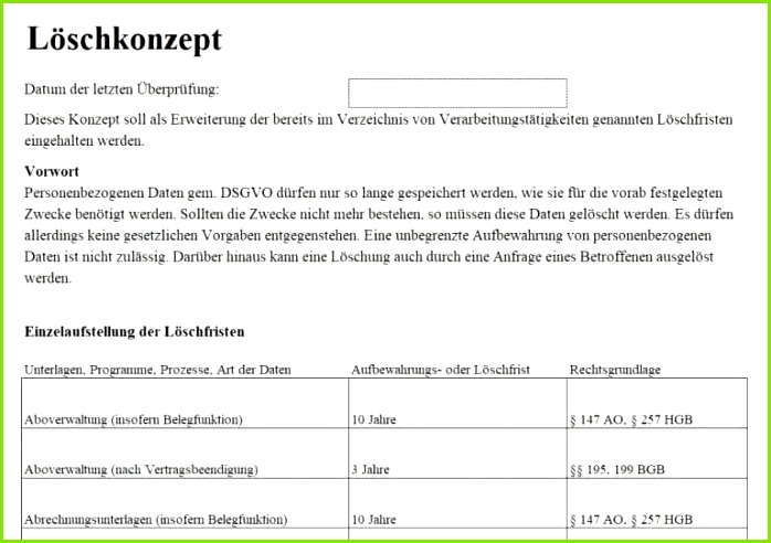 Screenshot Löschprotokoll inkl Löschkonzept