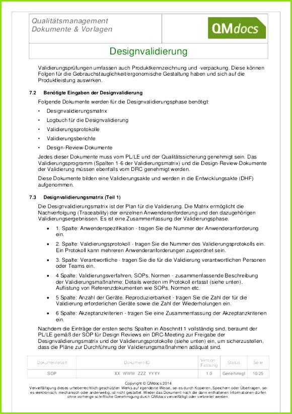 Qualitätsmanagement Dokumente & Vorlagen Designvali rung Vali rungsprüfungen umfassen auch Produktkennzeichnung und