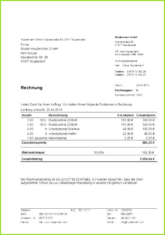 Rechnung Freiberufler Vorlage 9 Vorlage Rechnung Ohne Umsatzsteuer