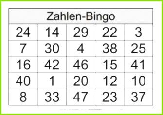 Zahlenbingo von 1 bis 48
