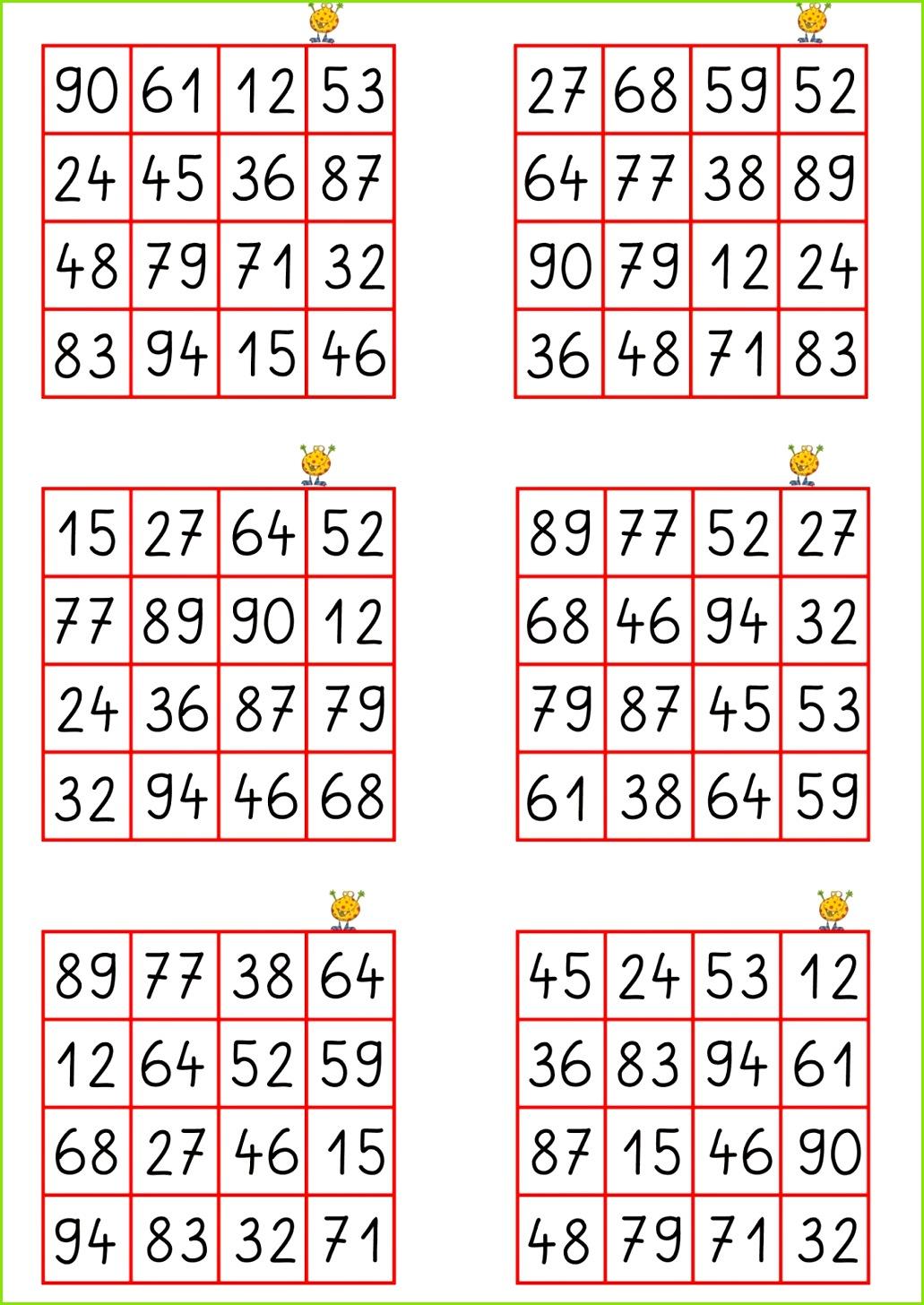 Zahlenbingo mit den Zahlen bis 100