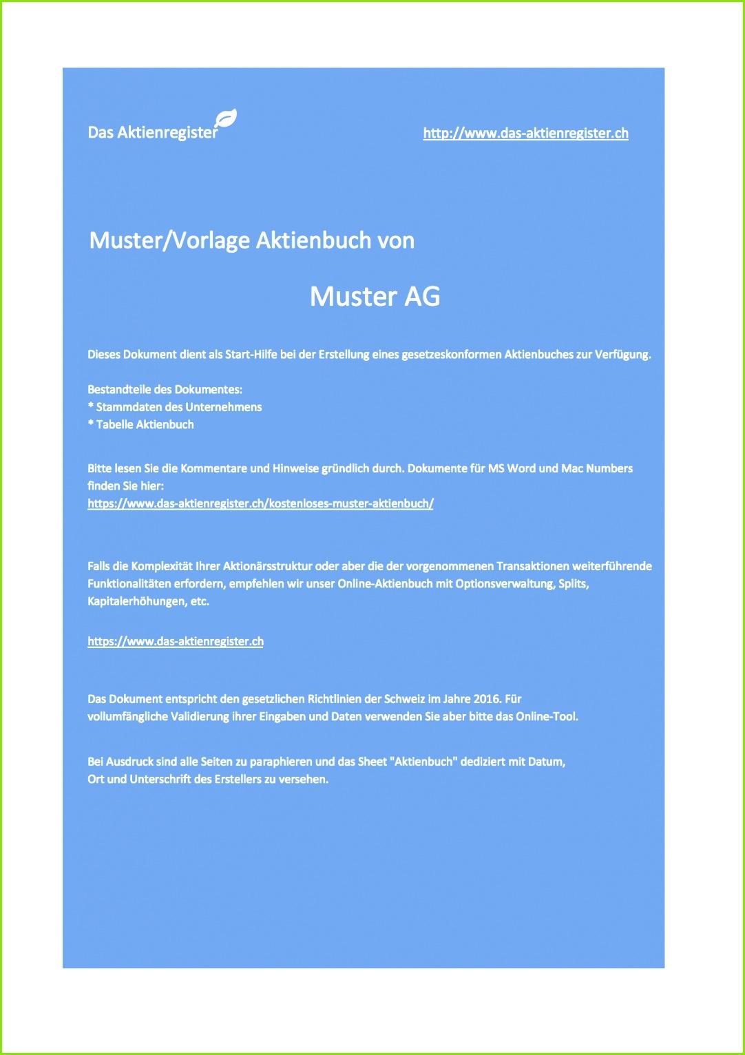 muster aktienbuch von das aktienregisterch deckblatt