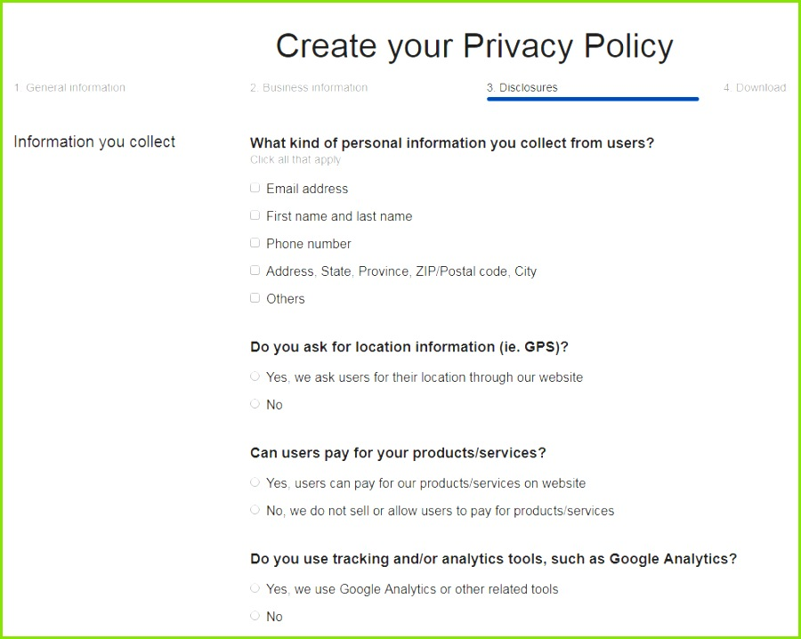 Termsfeed Privacy Policy Generator Answer Questions Business Practices Step 3