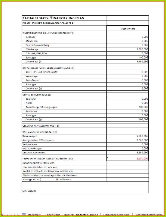 angepasst businessplan als excel vorlage von kapitalbedarfsplan vorlage