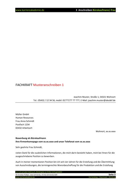 3 X Anschreiben Burokauffrau Burokaufmann Karriereakademie