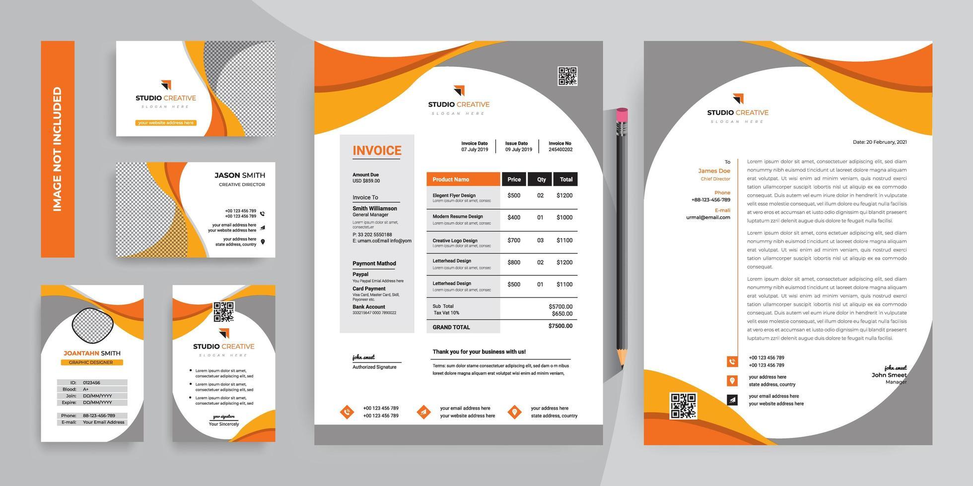 Orange Und Graue Kurve Corporate Briefpapier Vorlage Design Set Download Kostenlos Vector Clipart Graphics Vektorgrafiken Und Design Vorlagen