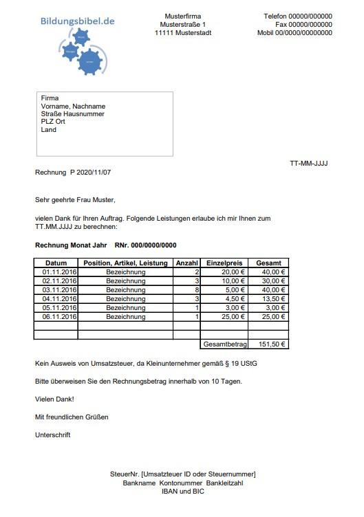 Rechnung Kleinunternehmer Vorlage Muster Kostenlos Downloaden
